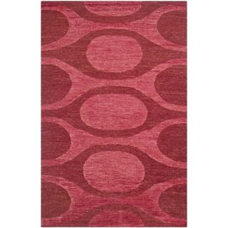 Shop for Safavieh Hand-knotted Santa Fe Modern Abstract Raspberry/ Red Wool Rug…