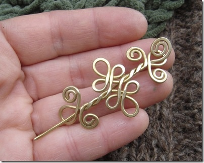 Little Celtic Shawl Pin or Brooch - Brass Celtic Double Swirls and Curls