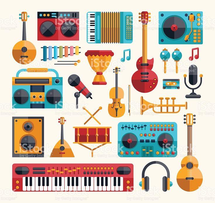 design plana moderno conjunto de instrumentos musicais e músicas ferramentas vetor e ilustração royalty-free royalty-free
