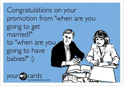 "Congratulations on your promotion from ""When are you getting #married"" to ""When are you having babies""? @erinrholden & @aholden1306   (sound familiar?)  lol"