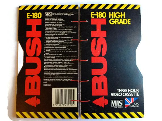 BUSH VHS Video Box coptic journal hand bound in Red by FuNkTjUnK