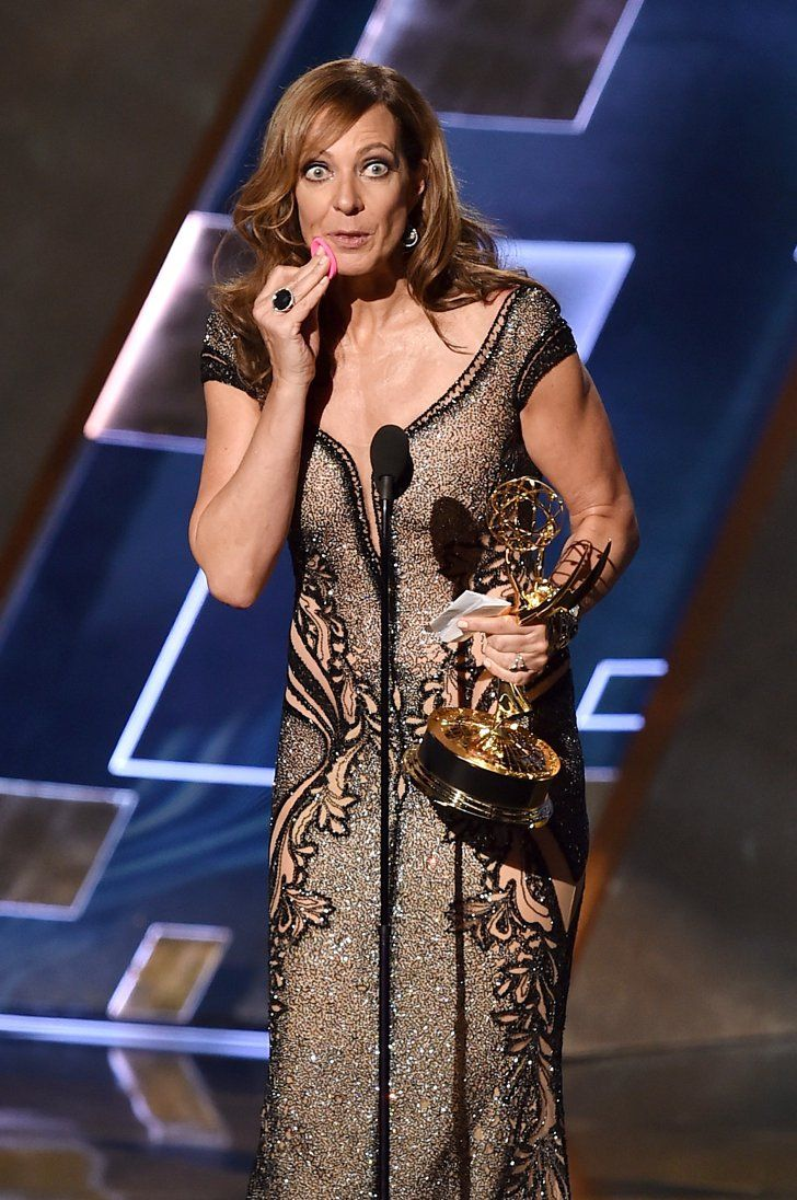 Pin for Later: The Unexpected, LMFAO Beauty Nods From the Emmys Allison Janney's Blotting Sponge Hits the Stage