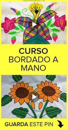 Curso bordado a mano Hand Embroidery Videos, Hand Embroidery Flowers, Flower Embroidery Designs, Hand Embroidery Stitches, Crewel Embroidery, Embroidery Hoop Art, Cross Stitch Embroidery, Embroidery Patterns, Machine Embroidery