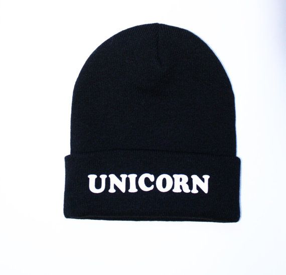 20% OFF SPRING SALE- Black Beanie with words, Black Unicorn beanie, grunge, slouch beanie, beanie with letters, Black Unicorn Beanie on Etsy, $15.50