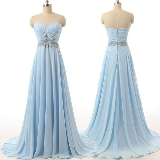 long prom dress,chiffon Prom Dress,sweetheart prom dress,blue prom dress,party prom dress,BD1282