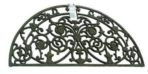Cast iron doormat - antique finish . $95.00. Traditional, heavy duty and yet highly decorative cast iron doormat. Filigree detailing in antique finish. Fitted with rubber feet for grip and to ensure good fit even if the floor or doorstep isn't entirely level. Semi-circle doormat only. Traditional, heavy duty and yet highly decorative cast iron doormat with beautiful filigree detailing in antique finish. Fitted with rubber feet for grip and to ensure good fit even...