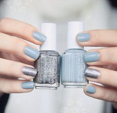 Silver and baby blue nails