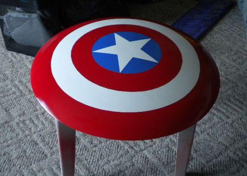 captain america (sheild) end table. LOVE.