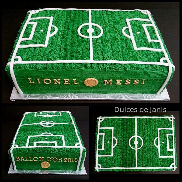 Ballon dOr 2015 soccer field cake by Dulces de Janis