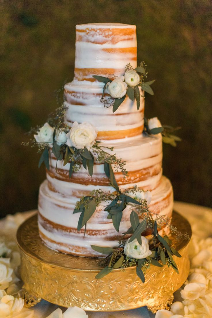 Round Four Tier Naked Wedding Cake with Fresh Ivory Roses and Eucalyptus Leaves on Gold Cake Stand | Tampa Wedding Cake by Olympia Catering