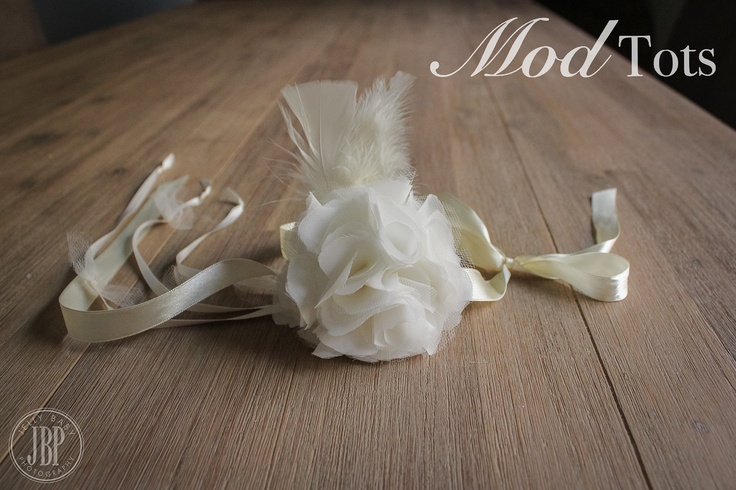 Gorgeous Handmade Vintage Style Ivory Flower & Feather Ribbon Tie Back Custom Colours Available LIKE US on Facebook www.facebook.com/modtotsadorablechildrensclothingandaccessories
