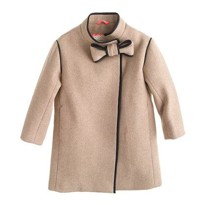 Girls' stadium-cloth bow coat A Very Secret Pinterest Sale: 25% off any order at jcrew.com for 48 hours with code SECRET. pinned 10/29/13
