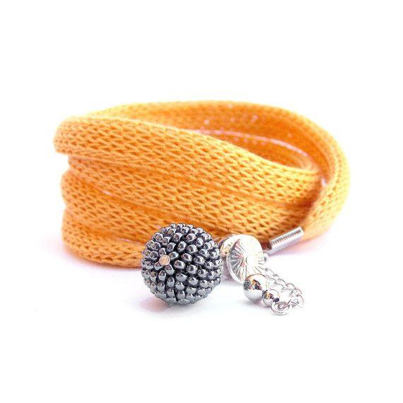 Wrist wrap - mustard yellow and grey knit bracelet / fabric jewelry / fabric wrap bracelet /  wrist cuff charm bracelet / spring fashion