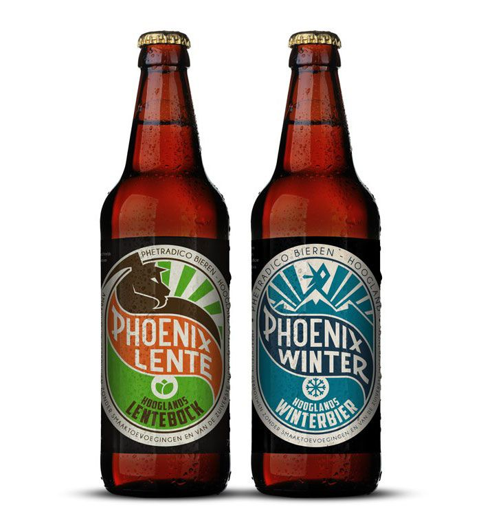 """""""Phetradico Bieren is a dutch brewery that brews Phoenix season beers. The designs are based on Phoenix's original designs by the dutch designer N.P de Koo. These are the new designs for the first two seasons on 2013"""""""