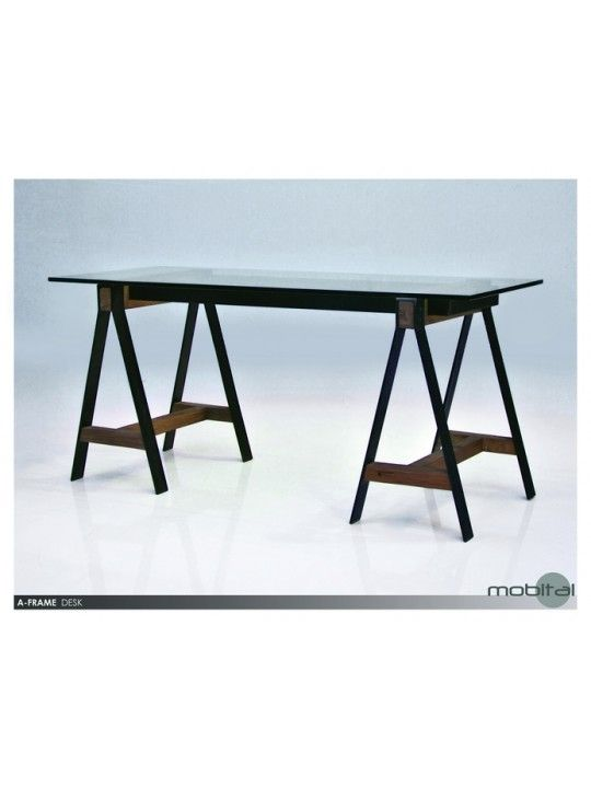 A-Frame Desk in Reclaimed Solid Elm Wood and Tempered Glass by Mobital   ODEAFRAWOODSTEEL   Mobital