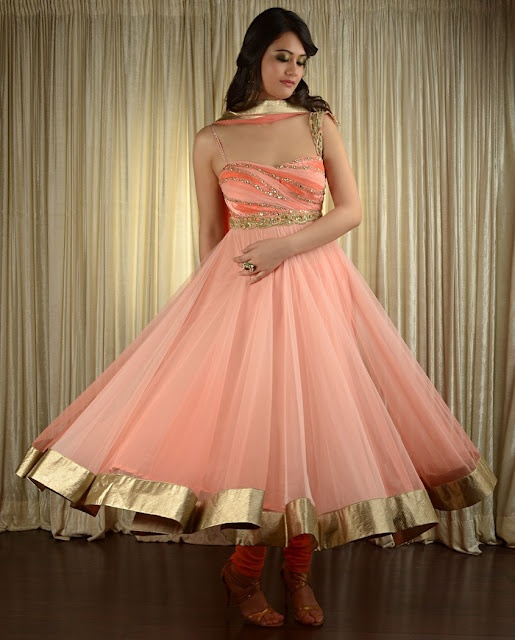 Pam Mehta anarkali--reminiscent of the 50's US prom dress