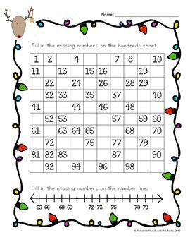 Fill in the missing numbers on the hundreds chart and number line.