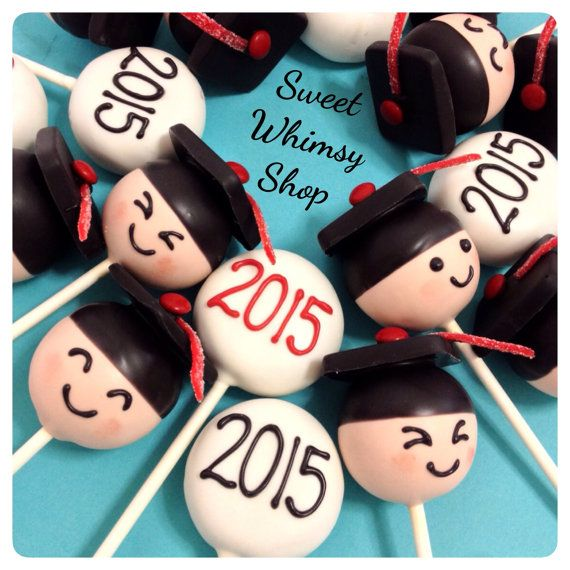 12 Graduation Cap Cake Pops custom tassel by SweetWhimsyShop