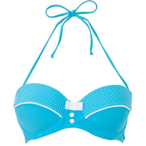Kelly Brook Turquoise Polka Dot Underwired Bikini Top ($26) ❤ liked on Polyvore