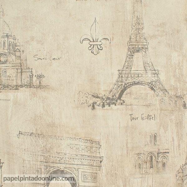 Papel pintado paris rs71808 con fondo en tonos de beige y - Dibujos juveniles ...