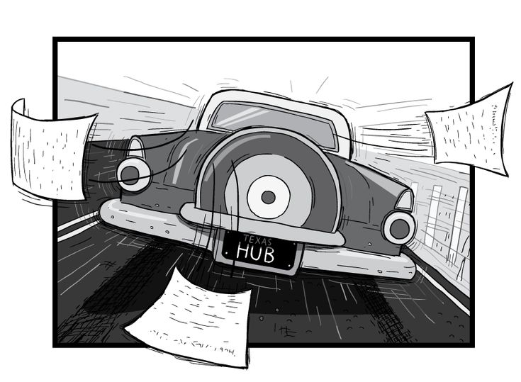 Rear view of a car driving away from the viewer. Cartoon 1956 Ford Thunderbird rear bumper and tail lights.  Image from Stuart McMillen's comic Peak Oil (2015), from the book Thermoeconomics (2017).