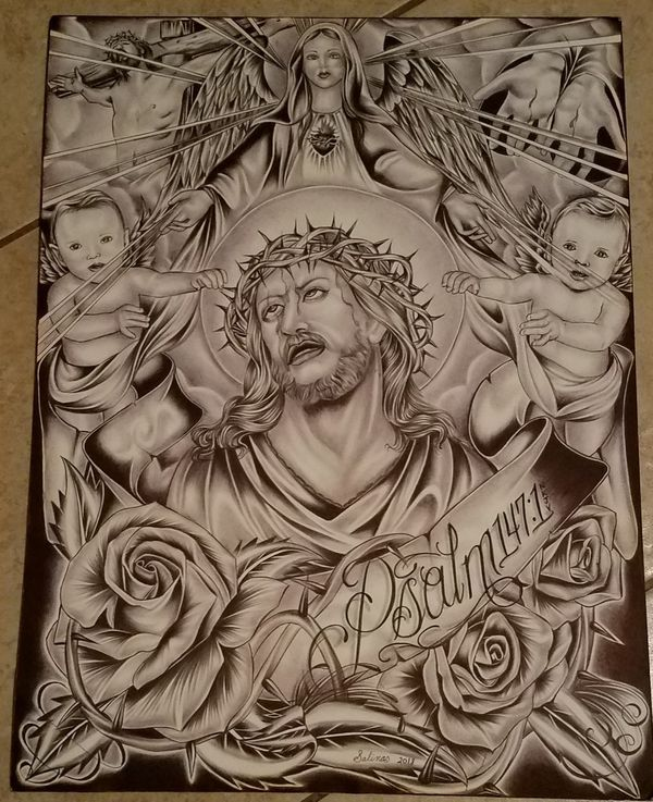 2dbc838beb76e New (never used), Hand drawn in ink, Christ and the Virgin Mary. 15x20 Art  Board. Make an offer!
