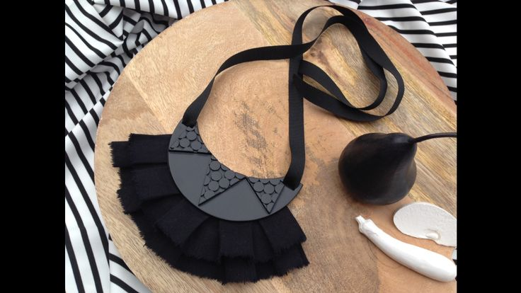 Hello? Does anyone see this? I'm not sure why I pin things in Mary Ted... No one ever pins them! Watch out, Instagram's going the same way!!Statement necklace from polymer clay and linen. Black on black.