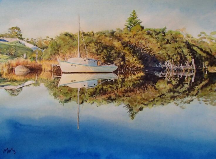 Early morning glow at Brodport. N.E. Tasmania. Watercolour. Melhillswildart