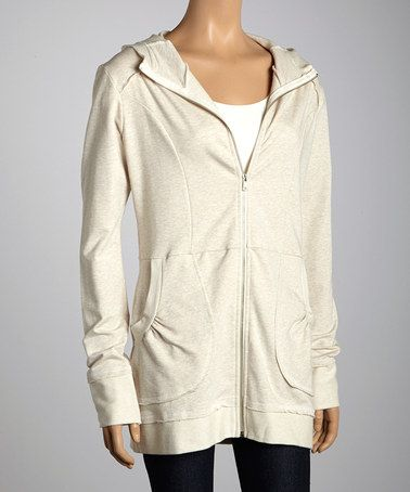Take a look at this Cream Zip-Up Hoodie by Hodges Collection on #zulily today!