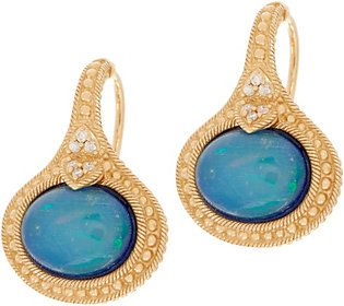 Judith Ripka 14K Gold Opal Doublet & Diamond Earrings