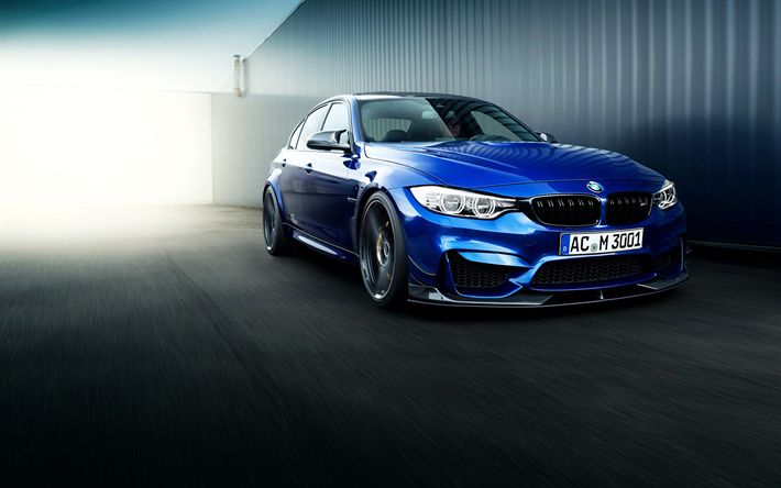 تحميل خلفيات بي ام دبليو M3, 2017, AC شنيتزر, ضبط, السيارات الألمانية, الأزرق M3, BMW