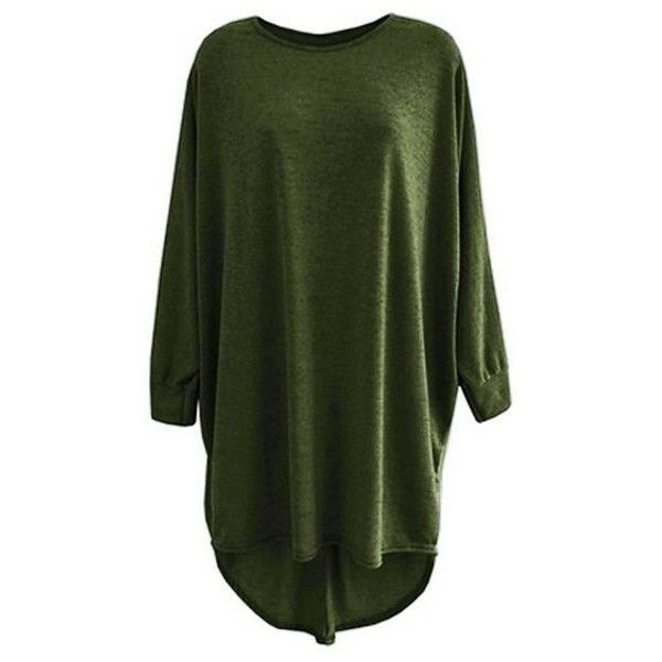 Unogal Clothing Ladies Long Loose Fit Batwing Top Jumper Womens... ❤ liked on Polyvore featuring tops, oversized tops, loose fitting tops, green top, loose tops and loose fit tops
