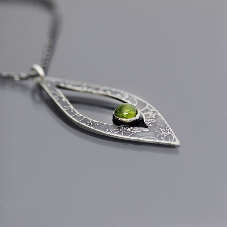 Etched Sterling Silver and Peridot Necklace by Lisa Hopkins Design