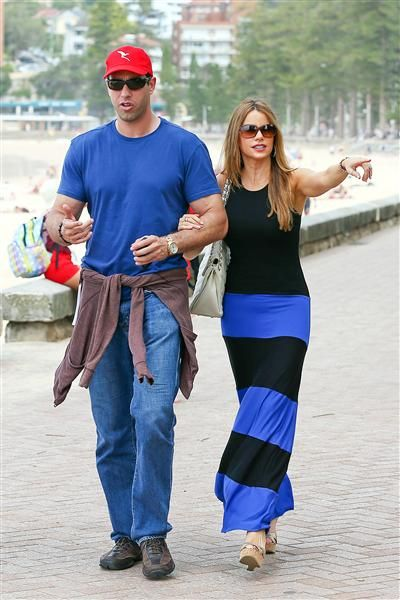 Sofia Vergara and fiance Nick Loeb stroll in Manly in Sydney on Feb. 18, 2014.