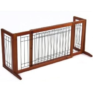 Amazon.com: Pet Fence Gate Free Standing Adjustable Dog Gate Indoor Solid Wood Construction: Baby