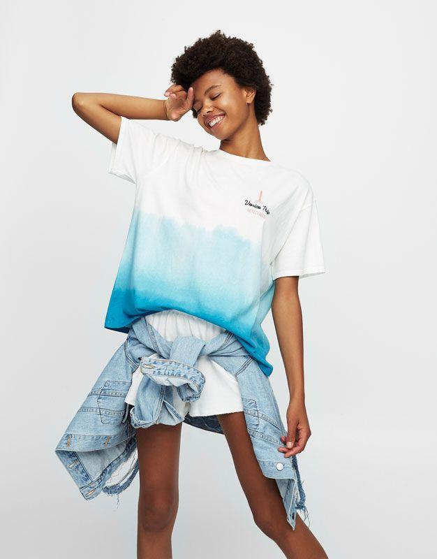 Blue ombré T-shirt - T-shirts - Clothing - Woman - PULL&BEAR United Kingdom