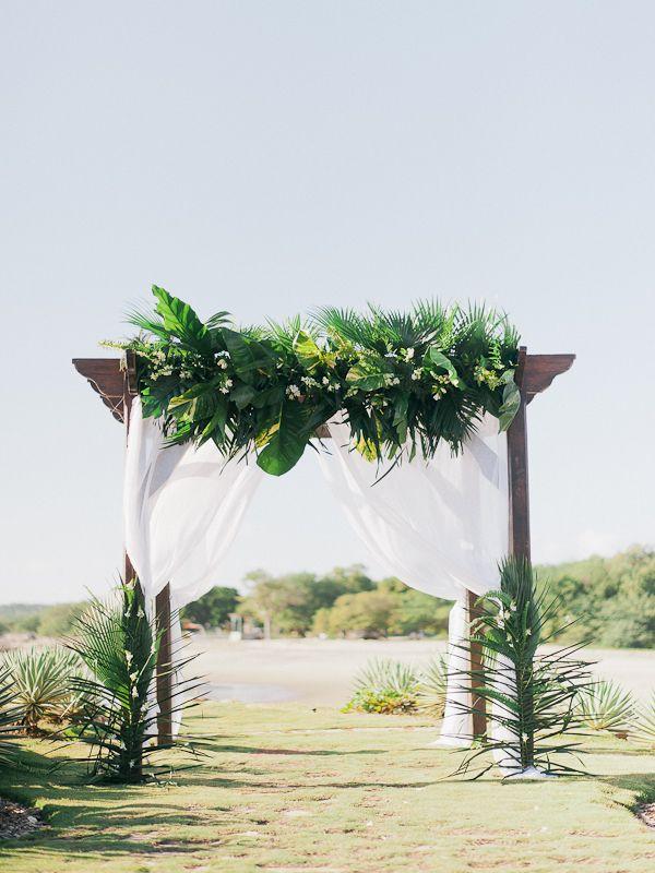 Lush Tropical Wedding Arch   Refined Rustic Destination Wedding in Nicaragua by Merari Photography