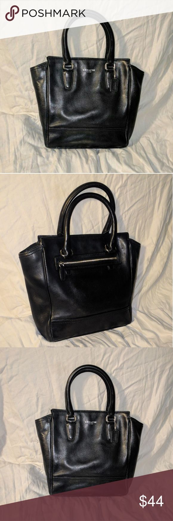 Coach Legacy Mini Tanner Black leather bag in good used condition. No rips or stains. Missing long strap that's why I have it priced so low. Coach Bags Mini Bags