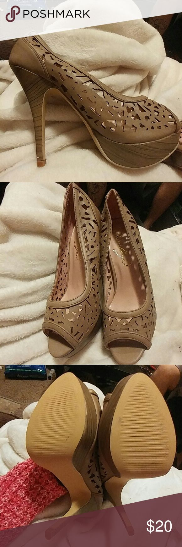 Beige heels Cut out stilleto worn only inside once privileged Shoes Heels