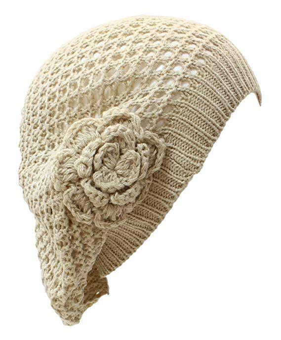 63ddece2e44 AN Crochet Hats for Women Beanie Cap Beret Knit Flower Beige Teens Girls