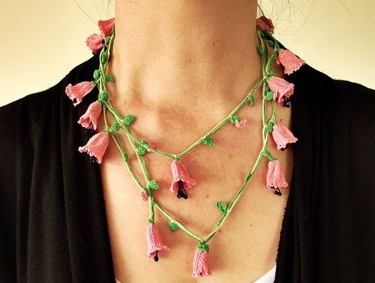 Pink Crocheted Necklace, Bellflowers Oya Wrap Necklace, Boho Beaded Lariat Necklace, Crochet Jewelry, Pink Flower Necklace, Gift For Her by ReddApple on Etsy https://www.etsy.com/listing/98218568/pink-crocheted-necklace-bellflowers-oya