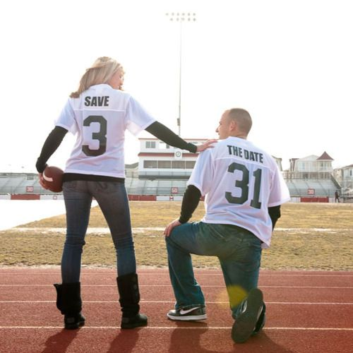 Yesss!!! I will have to do this...someday! :): Save The Date, Engagement Photo, Football Players, Cute Idea, Photo Idea, Football Jersey, Date Idea, Baseball Jersey, Soccer Jersey