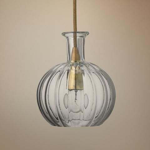 """Sophia 6 1/4"""" Wide Clear Glass with Brass Mini Pendant - #12V78 