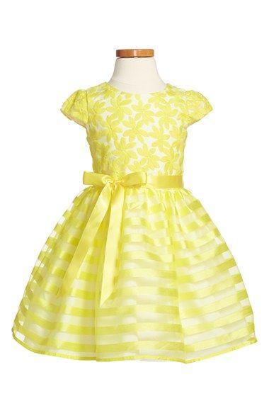 Us Angels Cap Sleeve Organza Dress (Toddler Girls, Little Girls & Big Girls)…