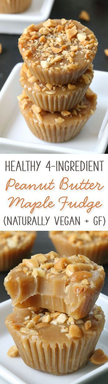 This 4-ingredient healthy maple peanut butter fudge only takes a few minutes to make and is naturally vegan gluten-free grain-free and dairy-free.