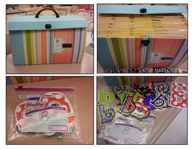 Neat storage solution http firstgradeblueskies for Bulletin board organization