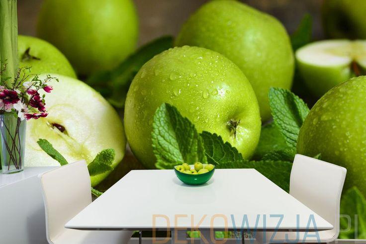 Fototapeta do jadalni z zielonymi jabłkami