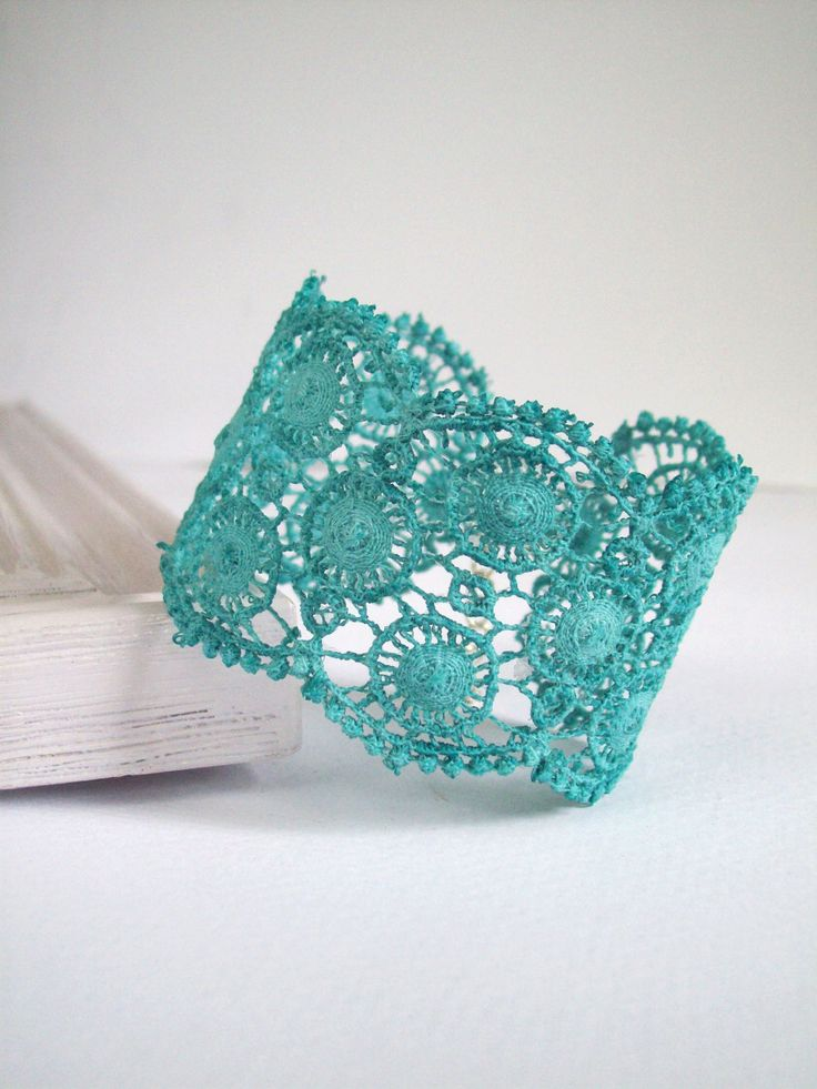Lace cuff bracelet teal turquoise hand dyed, bridesmaid ...