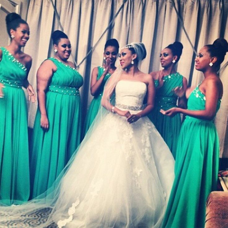 Find a Beautiful One Shoulder Green Bridesmaid Dresses Long Beaded Satin Bridesmaid Dress Women Empire African Bridesmaid Gowns Online Shop For U !