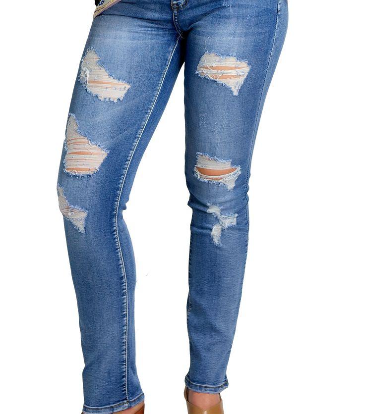 Τζιν παντελόνι με σχισίματα (μεγέθυνση)